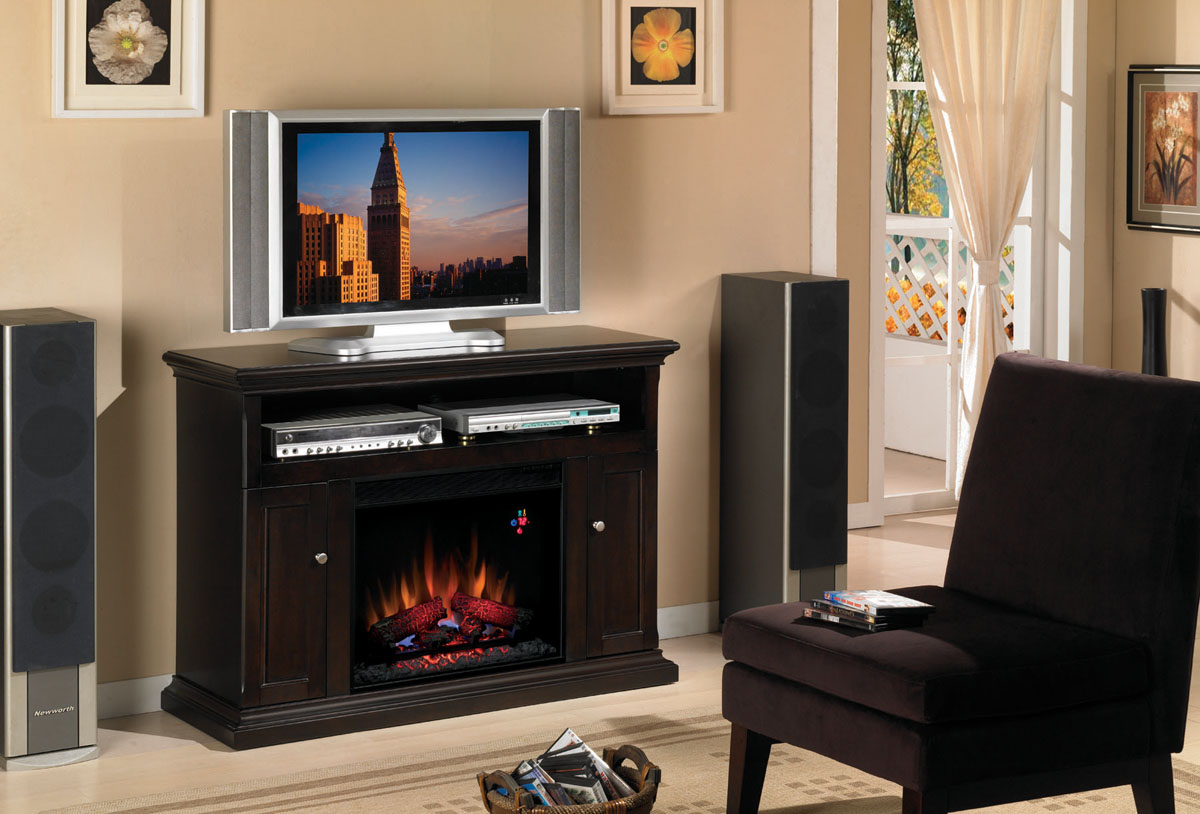 47 25 cannes espresso entertainment center electric fireplace