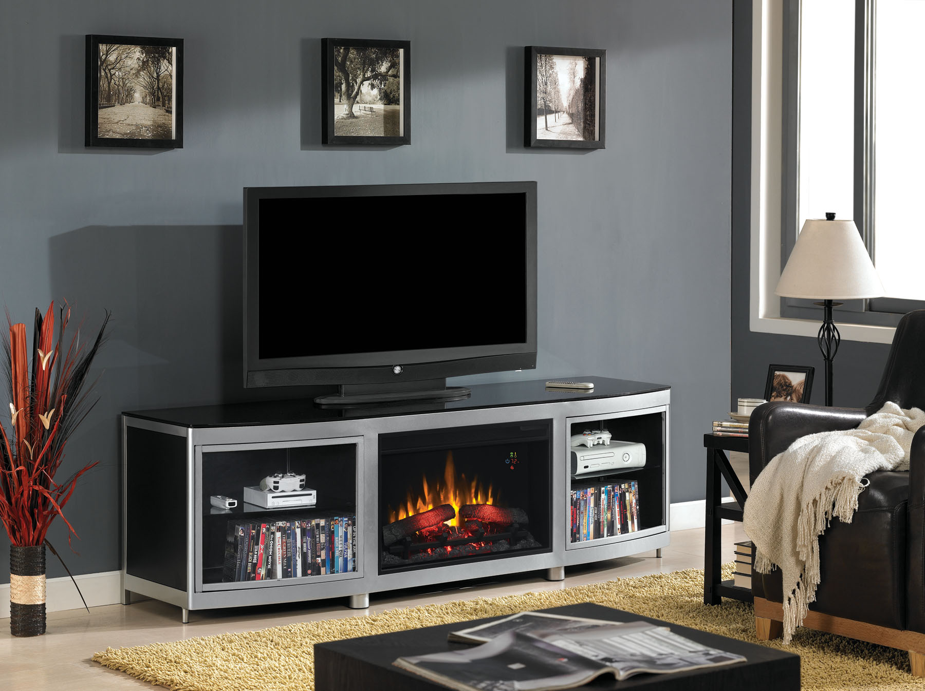 The Gotham Electric Fireplace Media Console in Black provides the modern look many are looking for in apartments