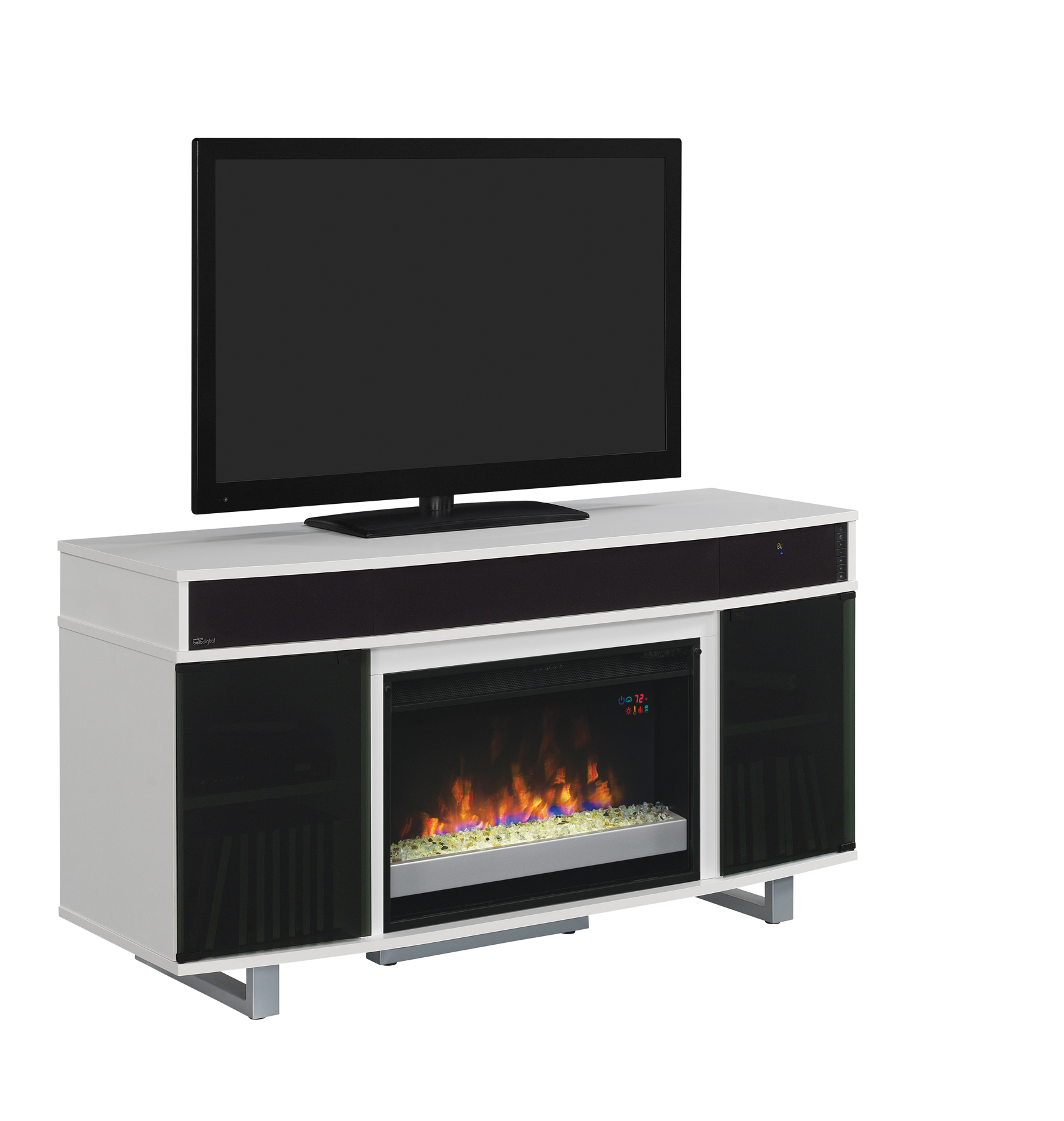 Astonishing 56 New Enterprise High Gloss White Infrared Media Electric Fireplace W Bluetooth Speakers Home Interior And Landscaping Ologienasavecom
