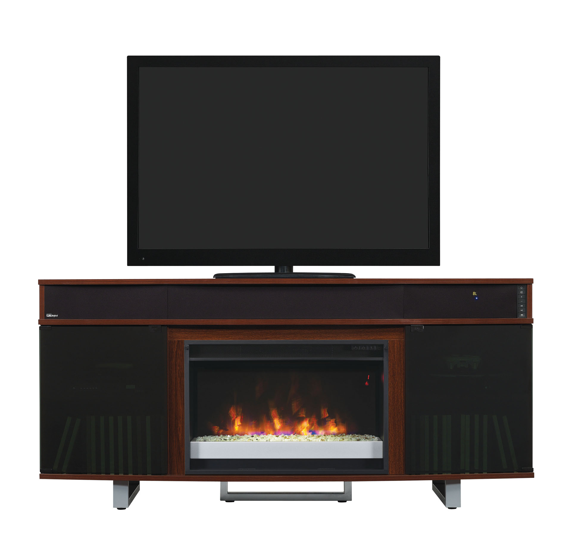 64 New Enterprise Cherry Infrared Media Electric Fireplace W Bluetooth Speakers