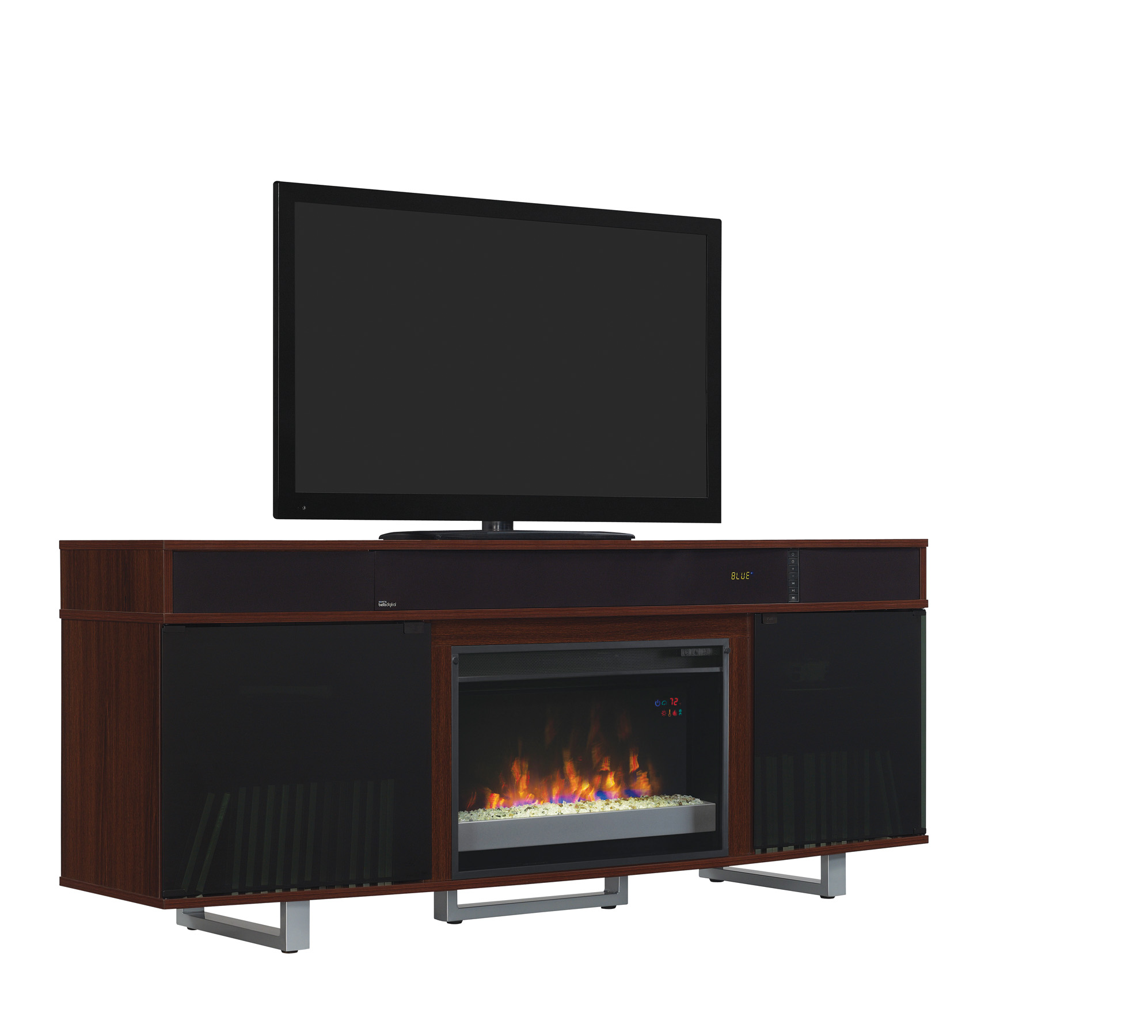 "72"" New Enterprise Media Mantel High Gloss Cherry Electric"