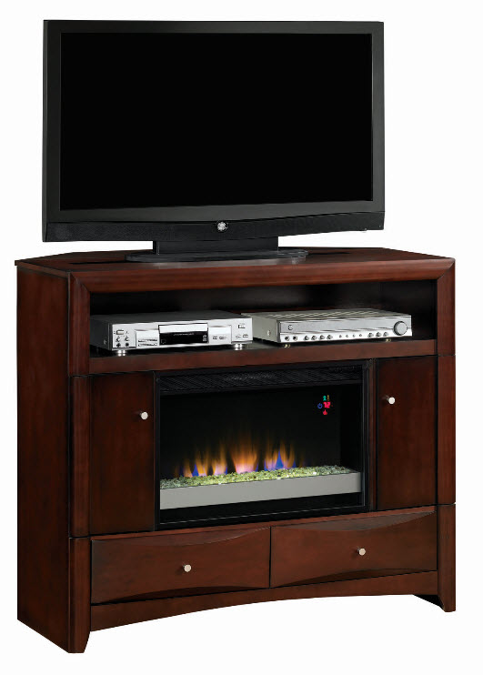 47 5 Delray Roasted Walnut Convertible Electric Fireplace Media Console 26de9401 W509