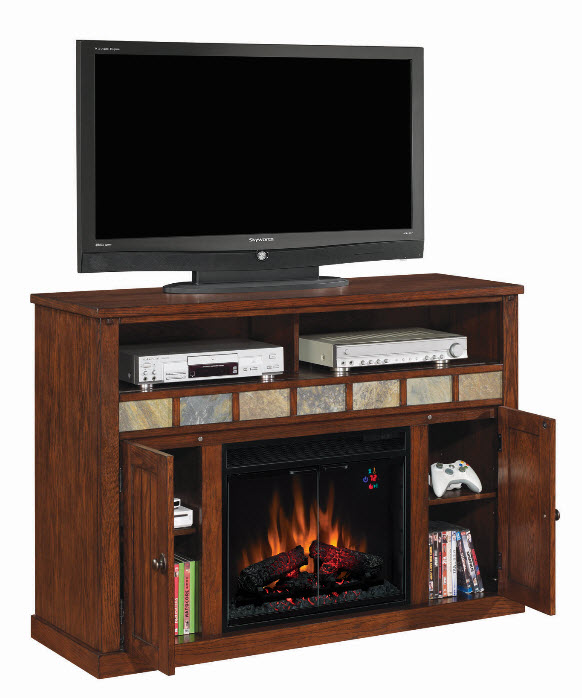 52 39 39 sedonia caramel oak entertainment center electric for Electric fireplace motor noise
