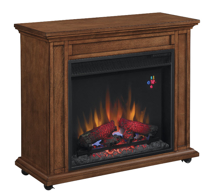 This rolling mantel showcases a customizable architecture with Premium Oak finish. Perks include locking casters for efficient mobility and non-tipping counterweight.