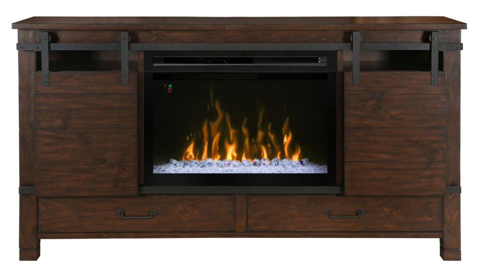 64 Quot Austin Media Console With 30 Quot Multi Fire Glass Ember