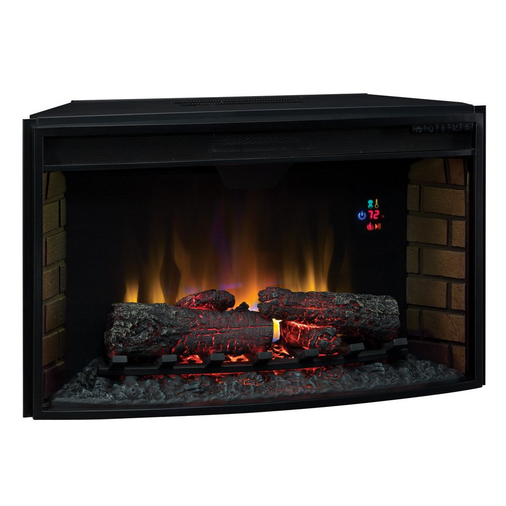 "Plug In Electric Fireplace Inserts: 32"" ClassicFlame Spectrafire+ Curved Electric Fireplace"