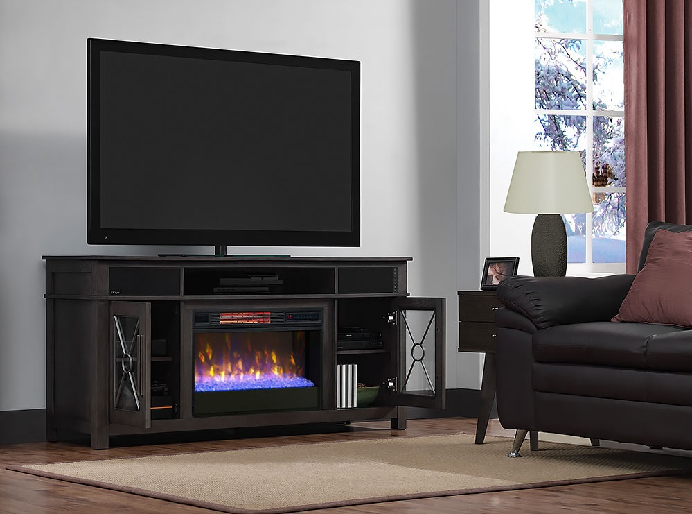 63 Quot Heathrow Tifton Oak Infrared Media Electric Fireplace