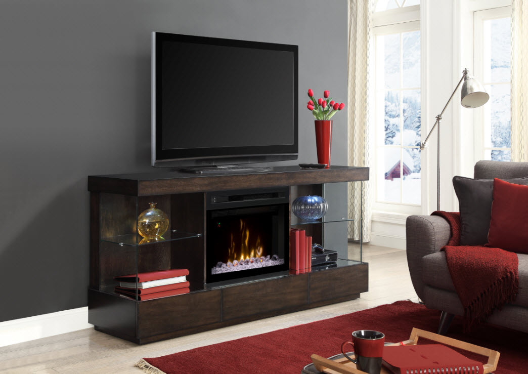 72 Quot Camilla Media Console With 25 Quot Multi Fire Glass Ember
