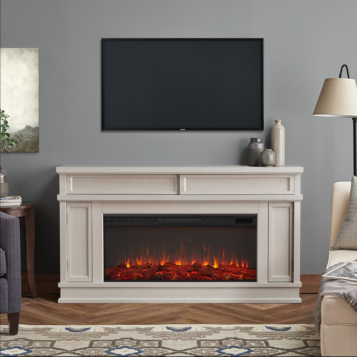 60 Torrey Bone White Electric Fireplace