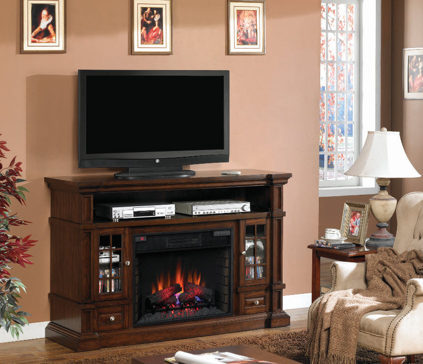 60'' Belmonte Caramel Oak Entertainment Center Electric ...