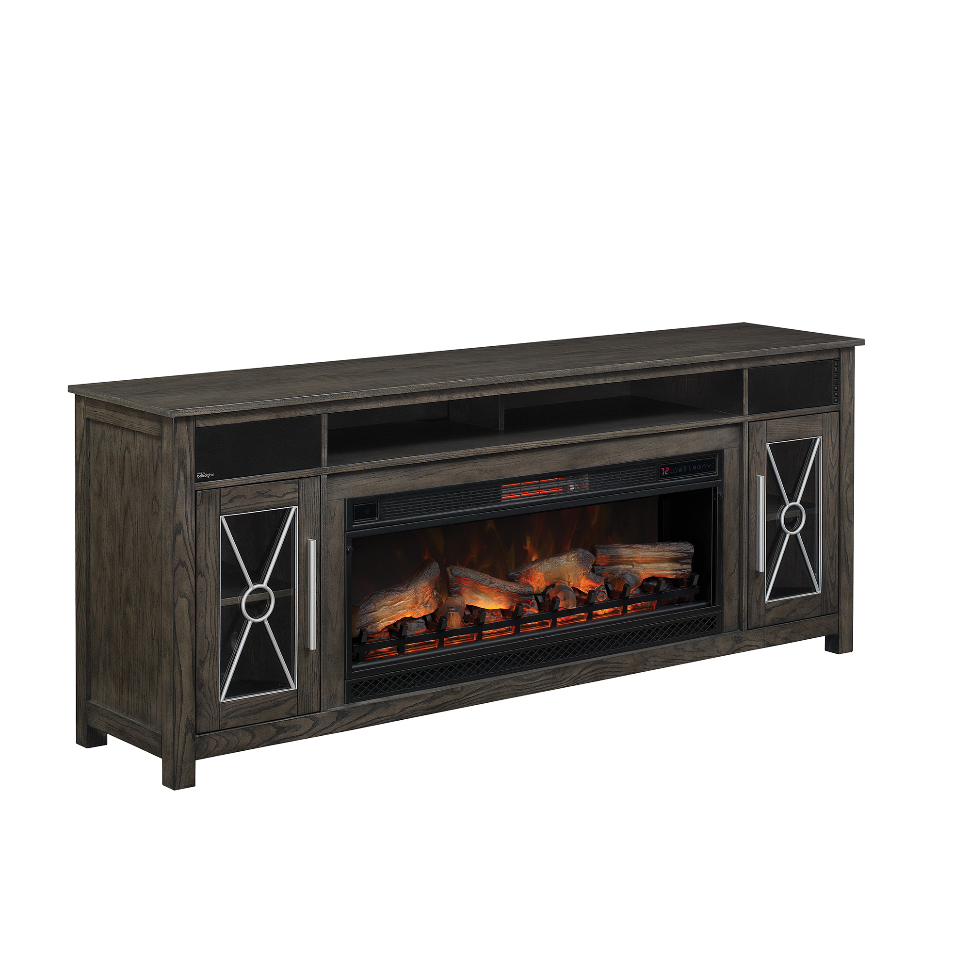 76 6 Quot Heathrow Tifton Oak Infrared Media Electric Fireplace