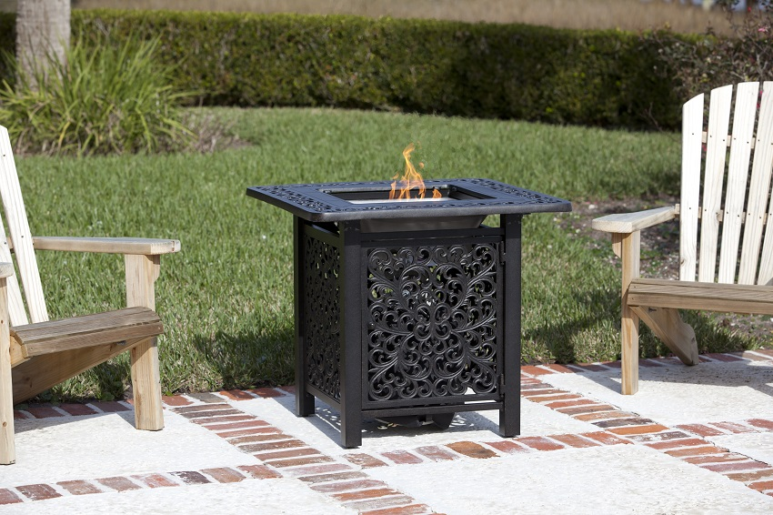 Sanremo Cast Aluminum Outdoor Bistro LPG Outdoor Fire Pit - Outdoor pub table fire pit
