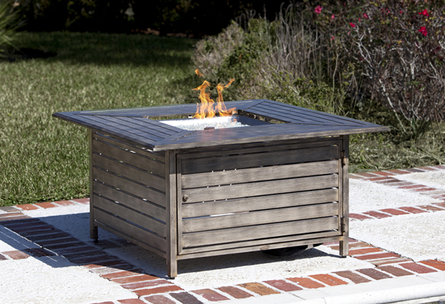 Onyx Black Glass Fire Pit Table With Venturi Flame - Black propane fire pit table