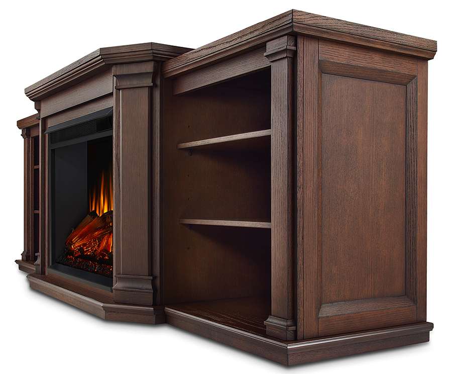 Chestnut Oak Electric Fireplace Side Angle
