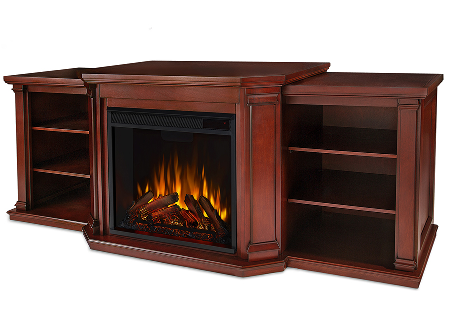 Dark Mahogany Electric Fireplace Angle