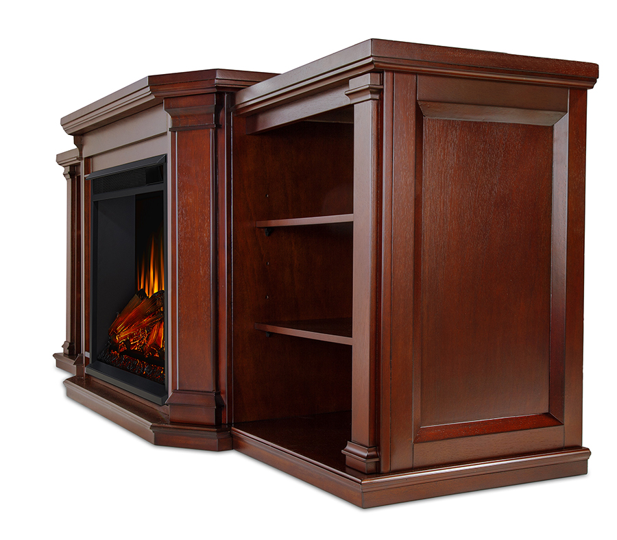 Dark Mahogany Electric Fireplace Side Angle
