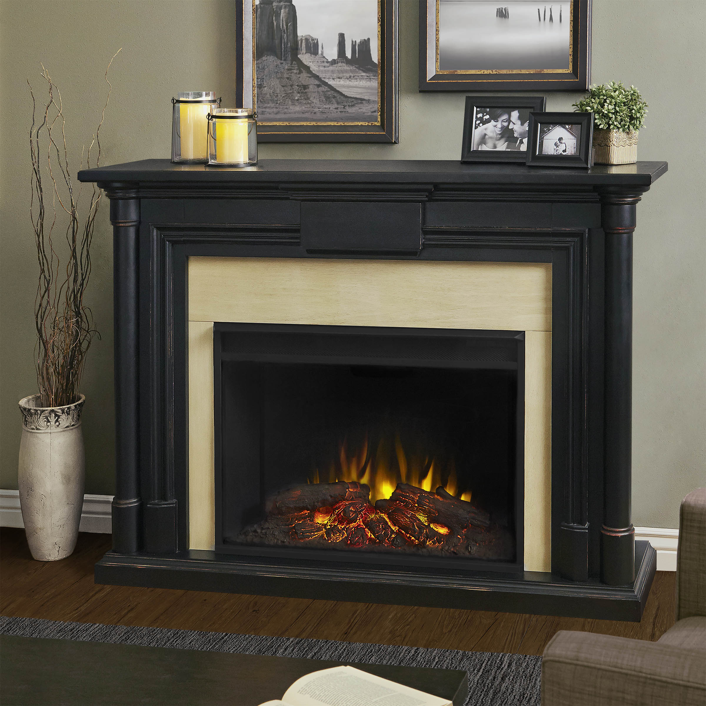 "The Maxwell represents a new generation of Real Flame electric fireplaces. The 40"" (diagonal) Grand Series firebox is 30% larger than our standard firebox"