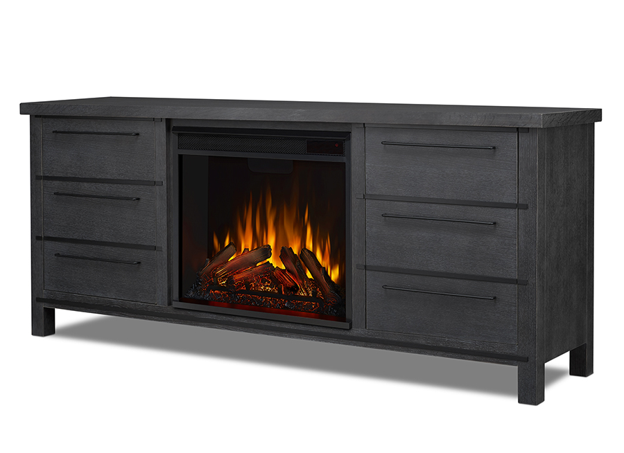 Antique Gray Electric Fireplace Angle