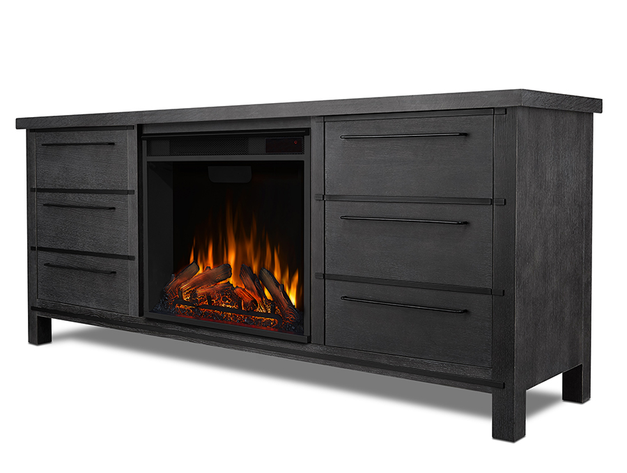 Antique Gray Electric Fireplace Side Angle