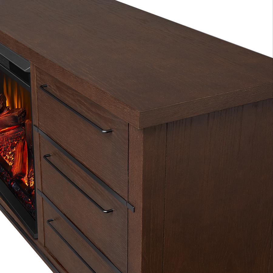 Chestnut Oak Electric Fireplace Frame Details