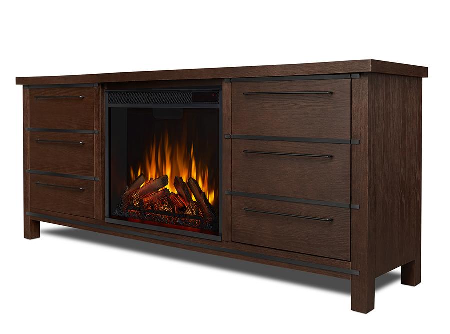 Chestnut Oak Electric Fireplace Side Angle