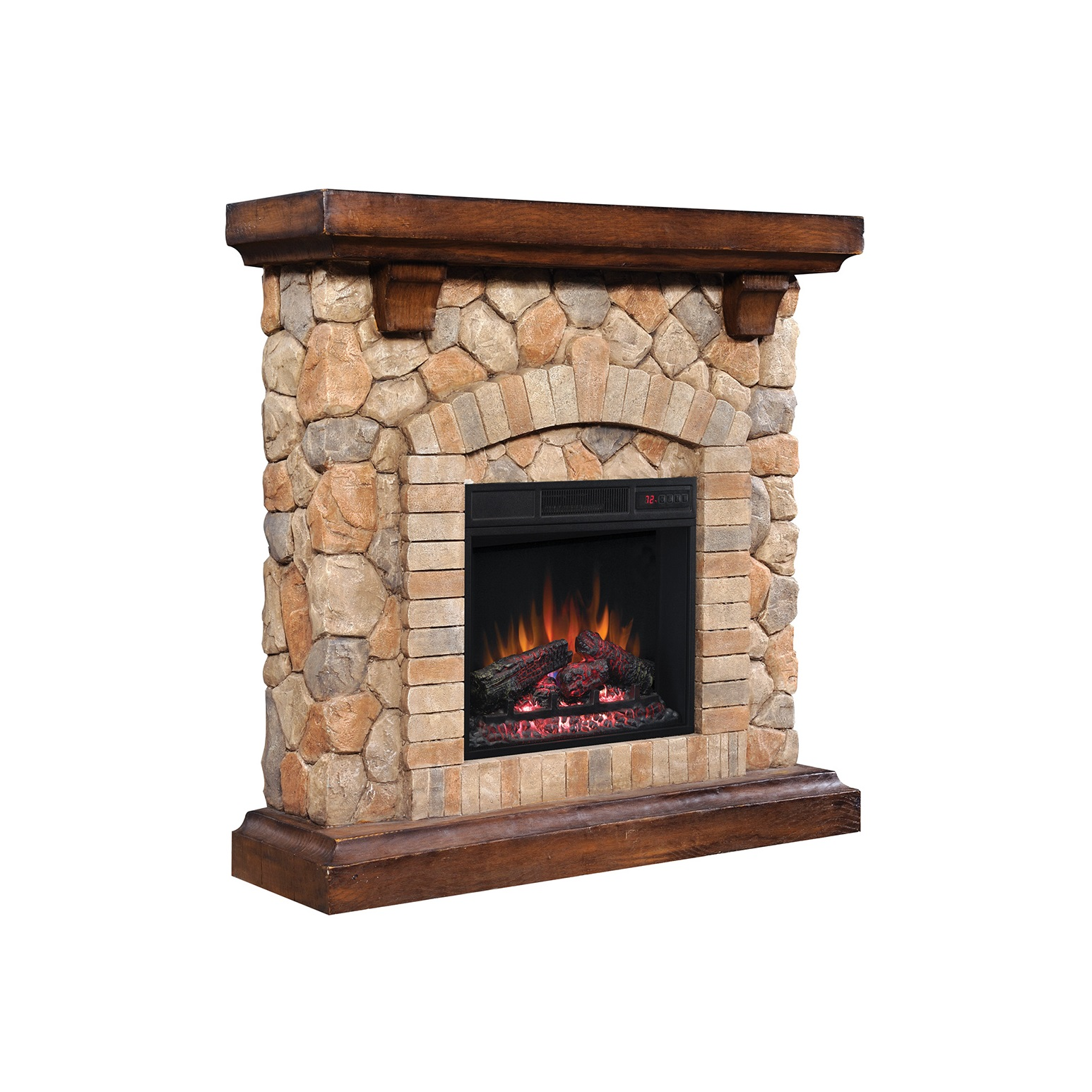 Tequesta Stone Old Wood Brown Electric Fireplace