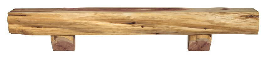 Solid Cedar Live Edge Log Shelf - Front