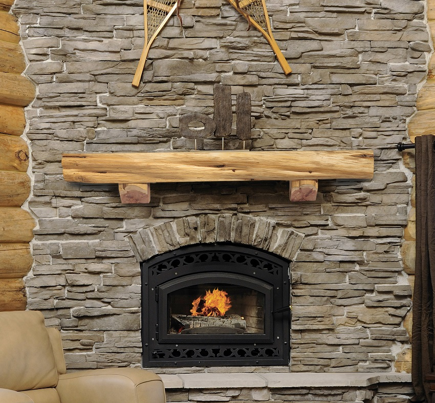 Pearl Mantels 900-60-00 Cedar Live Edge mantel shelf and supporting corbel brackets 60 Inch length light Natural