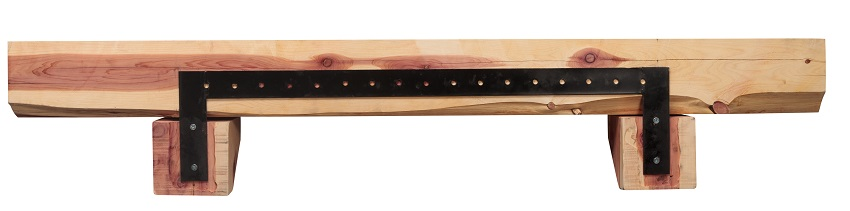 Solid Cedar Live Edge Log Shelf - Back
