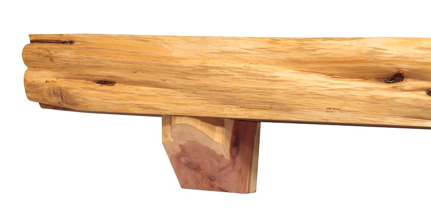 Solid Cedar Live Edge Log Shelf - Detail