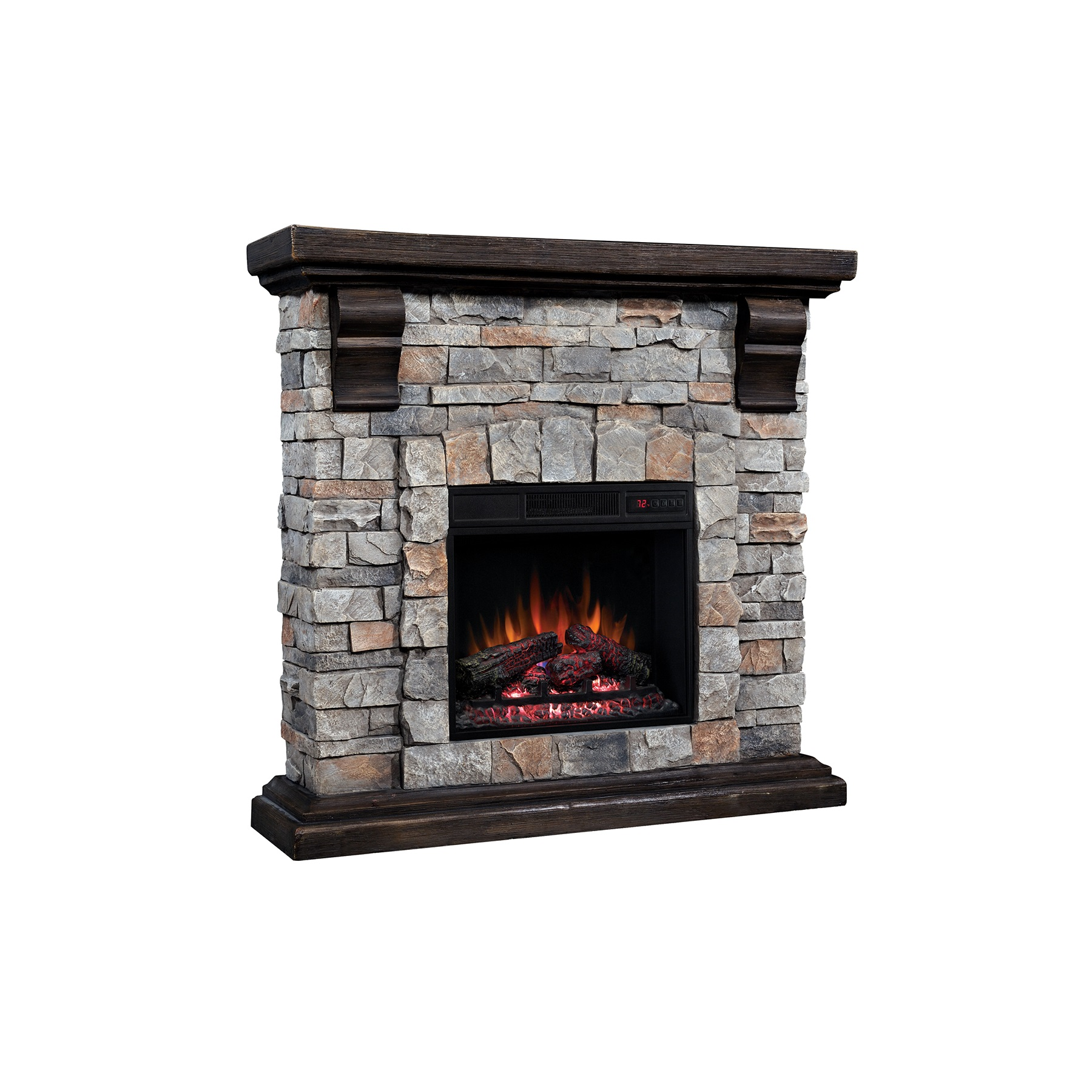 40 Pioneer Brushed Dark Pine Stone Electric Fireplace