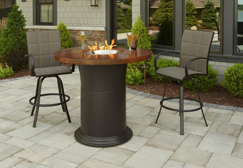 48 Round Artisan Top Colonial Outdoor Round Fire Pit Table