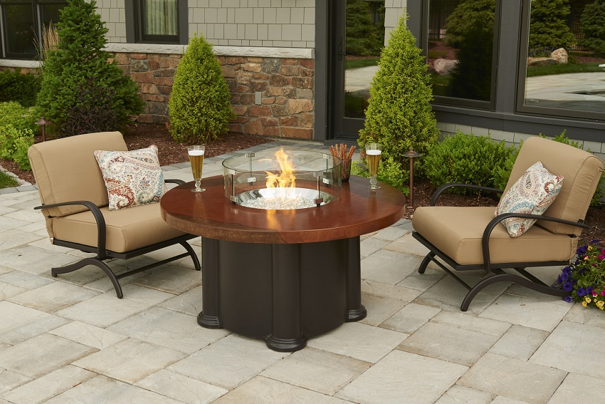 Round Artisan Top Colonial Outdoor Round Fire Pit Table - Pub height fire pit table