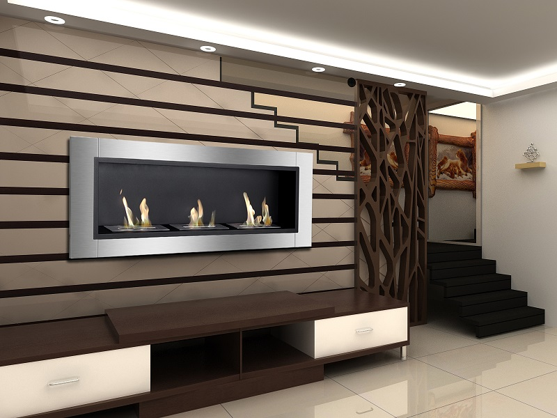 The Ardella Bio Ethanol Fireplace for the wall is sure to add a sleek and sophisticated presence to your living or working space. Both the fireplace's rectangular frame and three ethanol burners are composed of high-grade stainless steel.
