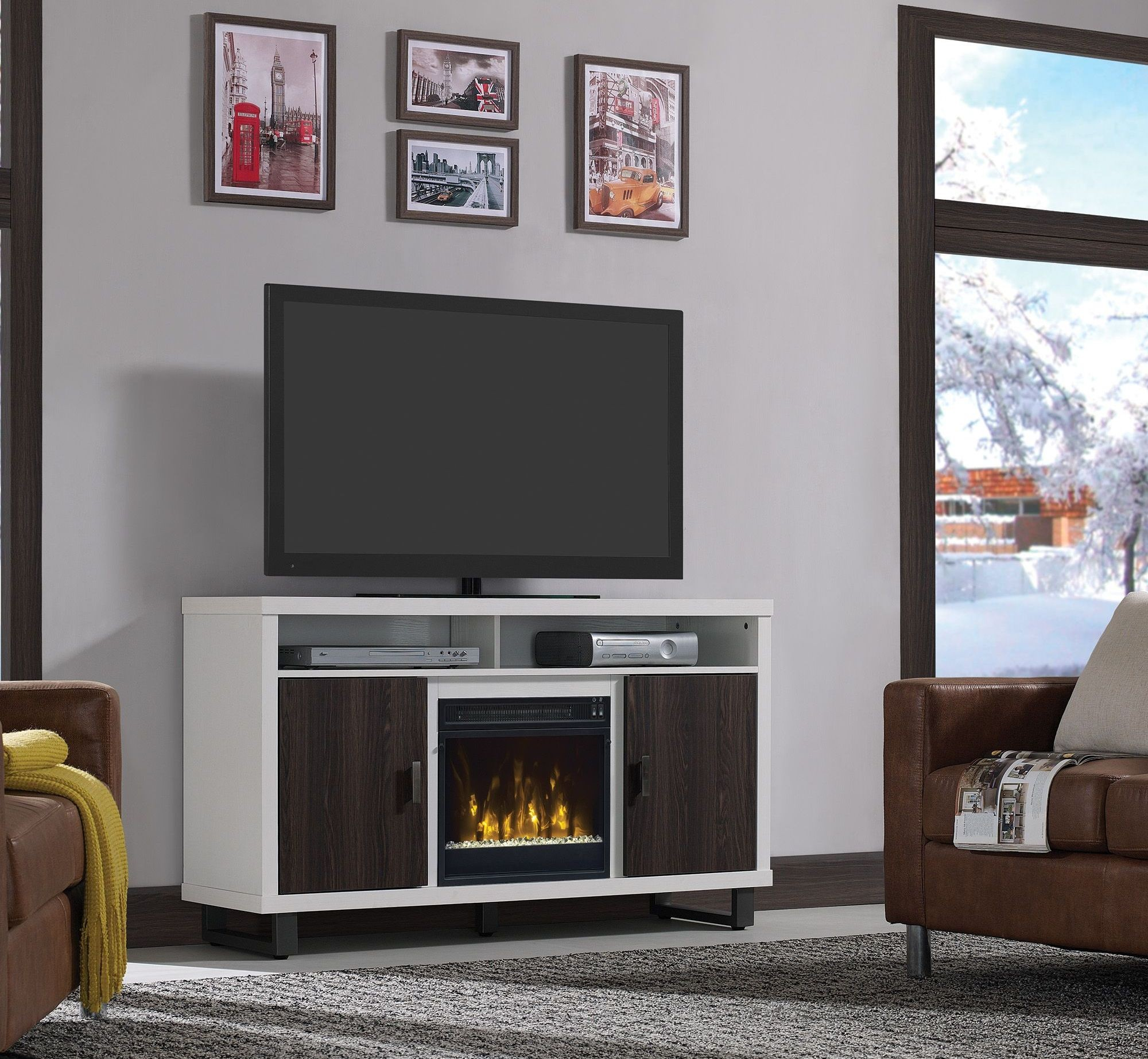 console with media electric contemporary silver center set inch log fireplace classicflame gotham