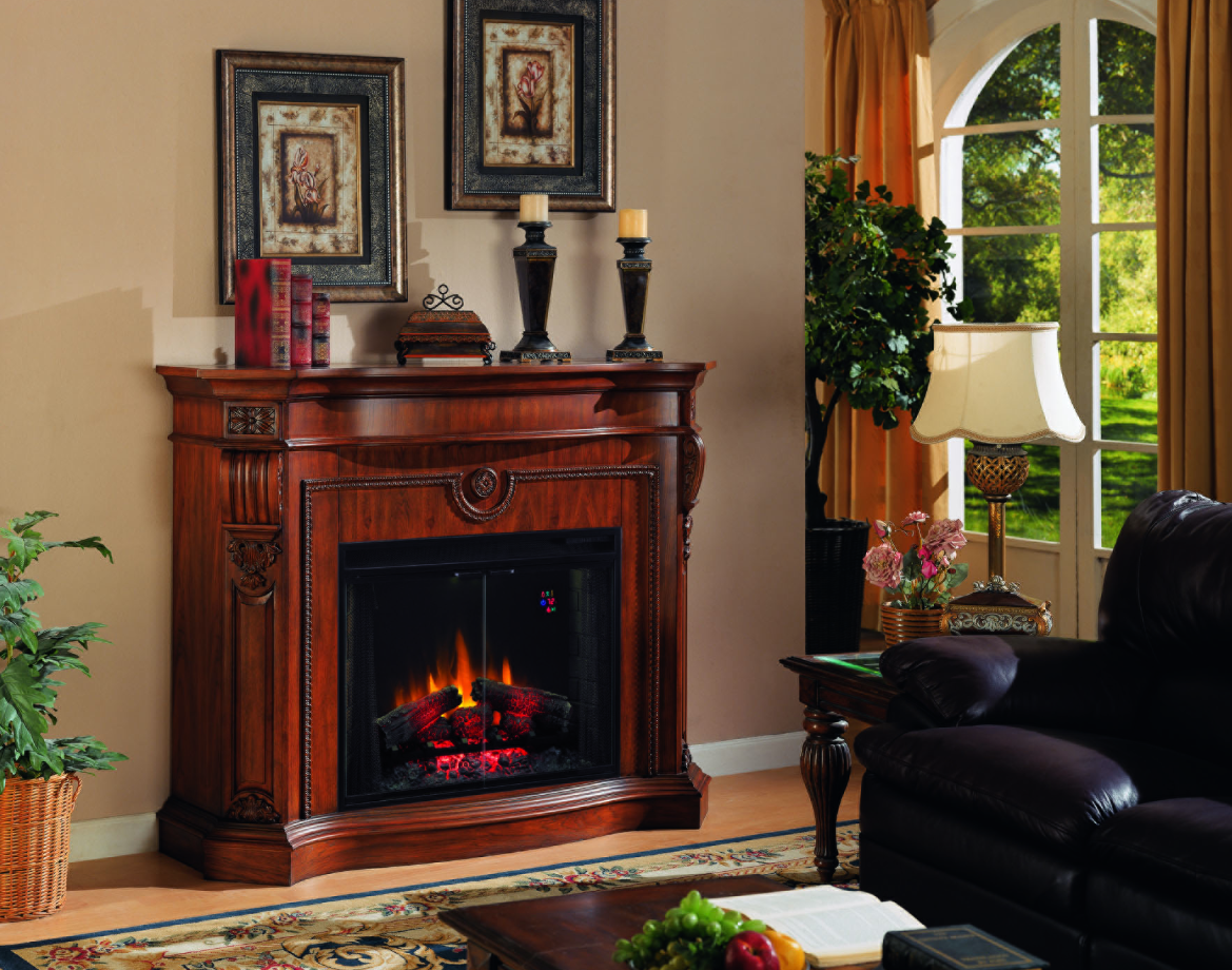 62 Inch Grand Cherry Electric Fireplace Electric
