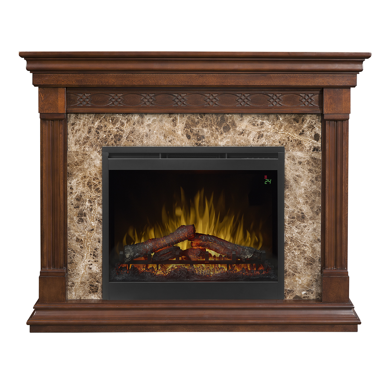 51 dimplex alcott mantel electric fireplace for Fireplace no mantle