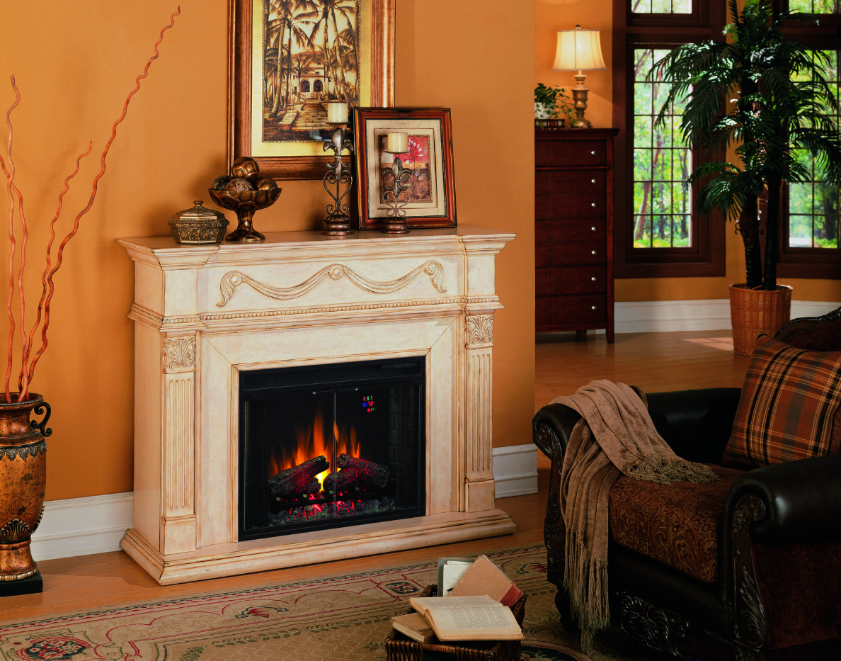 The Gossamer Antique Ivory Electric Fireplace brings classical styling into modern times with its elegant design and large electric fireplace insert.