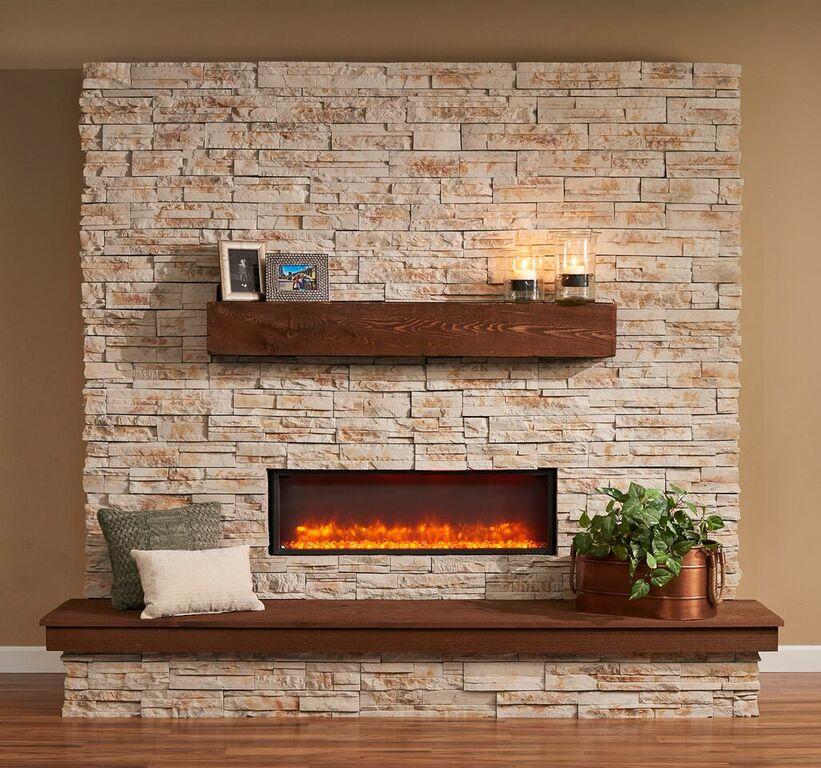 Linear Supercast Wood Mantel Shelf