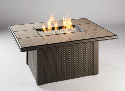 Napa Valley Fire Pit Table with Wicker Panels