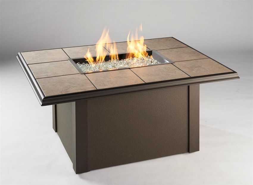 Napa Valley Fire Pit Table with Brown Metal Base