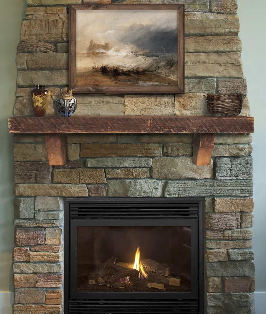 60 72 solid reclaimed whiskey finish pine mantel shelf for Fireplace no mantle