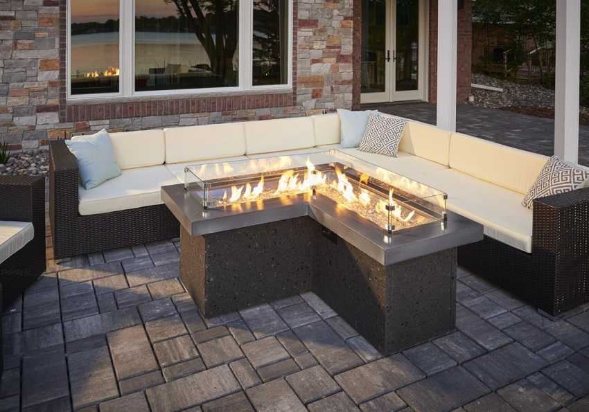 L Shaped Pointe Fire Pit Table