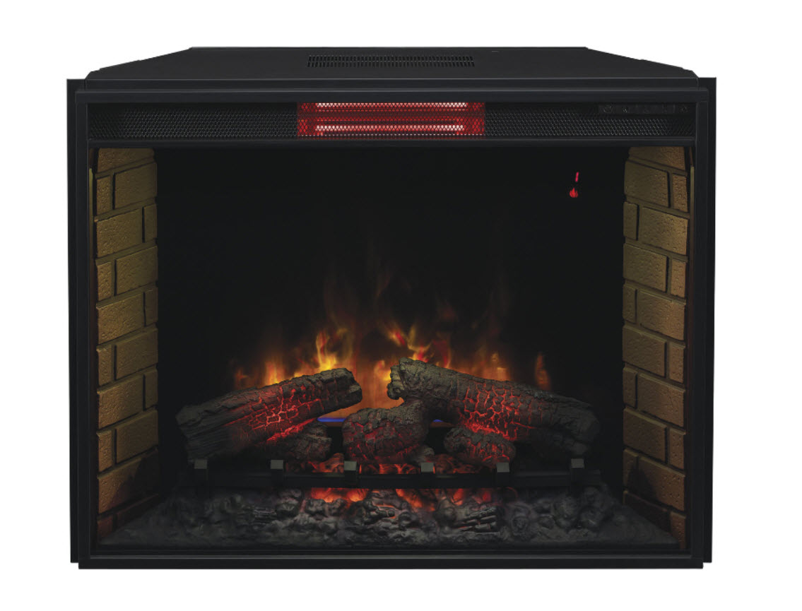 "This 33"" Infrared electric fireplace insert has been proven to heat a room up to 1000 square feet in size while maintaining a moist"
