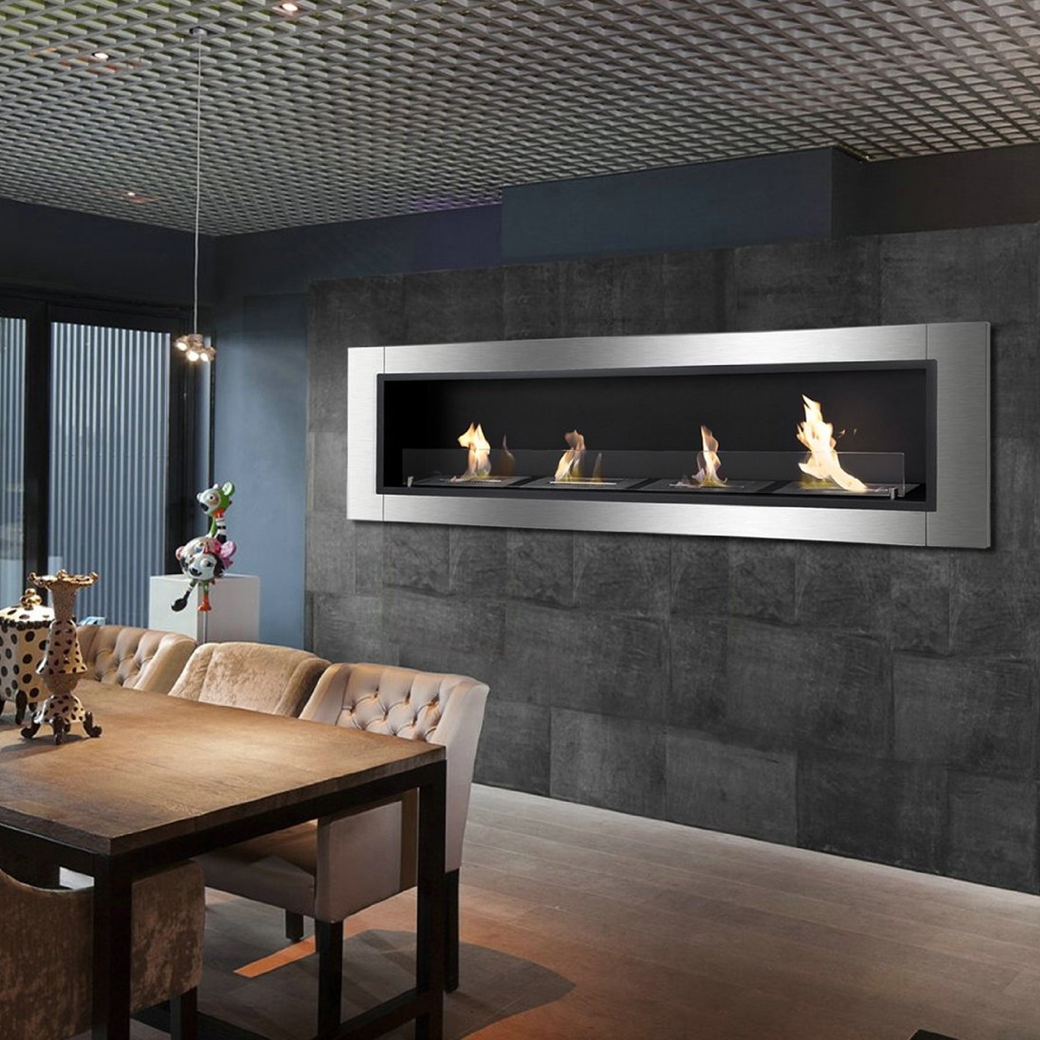 67 Ignis Accalia Wall Mounted Recessed Ventless Ethanol Fireplace