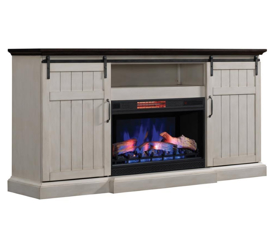 77 Cabaret Weathered White Tv Stand Infrared Electric Fireplace