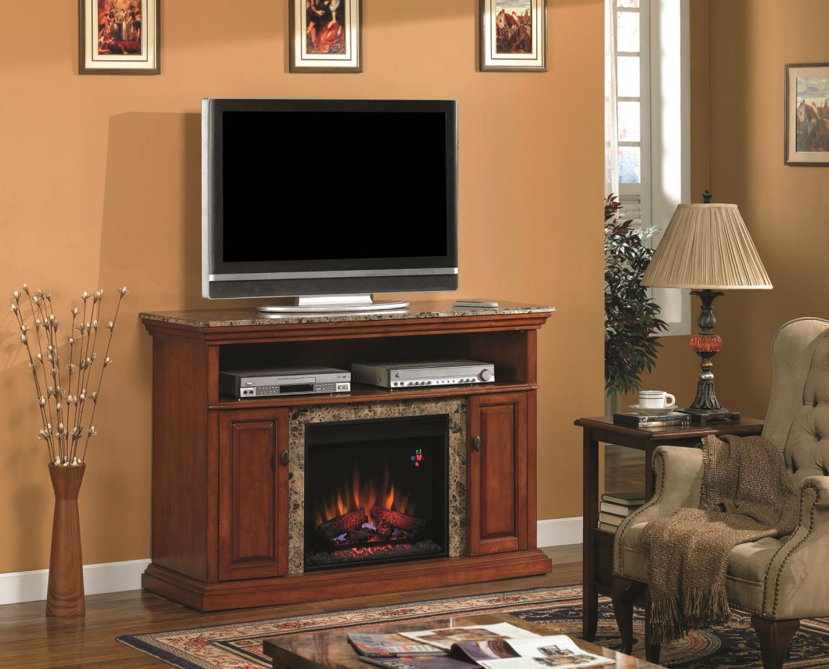 The Brighton Electric Fireplace Media Cabinet in Golden Honey is a great addition to any home