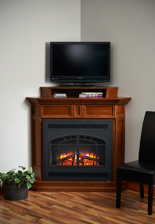 Columbia Corner Cabinet with TV Stand and Rectangular Arched Front