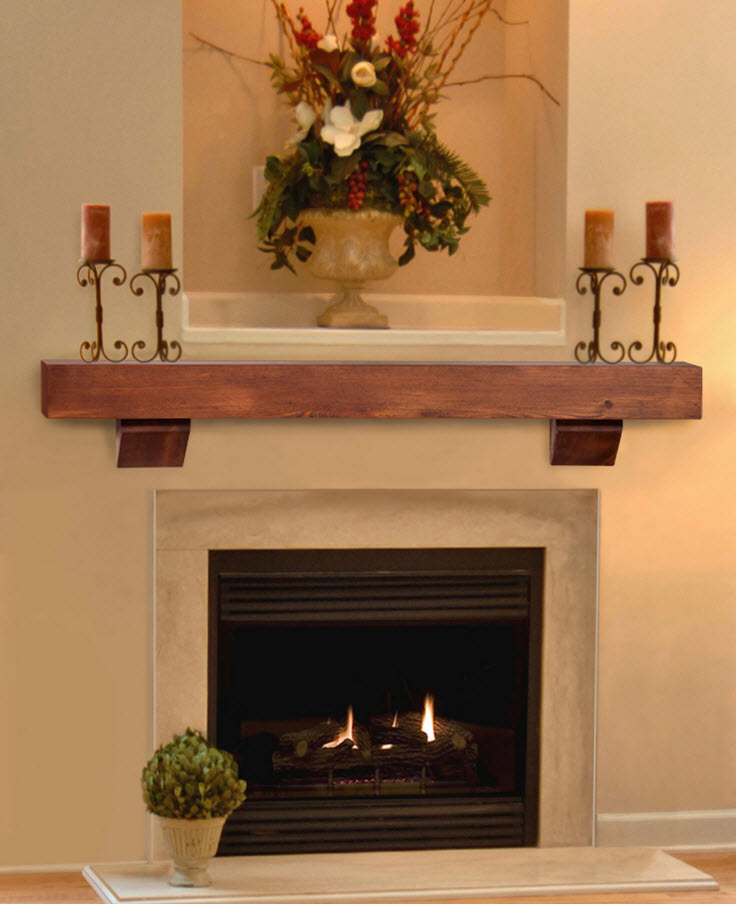 48 60 72 heritage autumn finish heart pine mantel for Fireplace no mantle