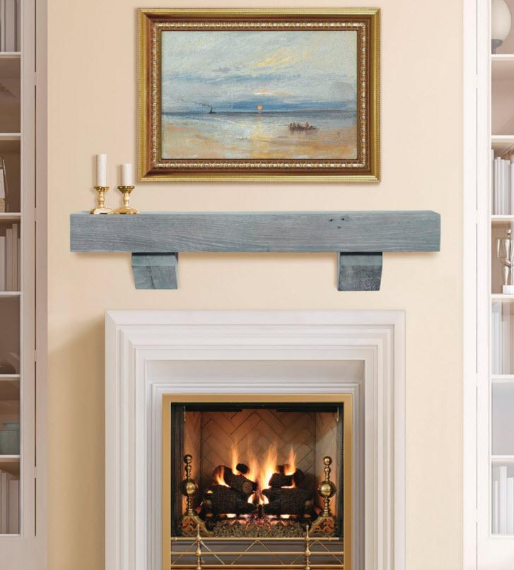 48 60 72 Heritage Driftwood Finish Reclaimed Mantel Shelf W Corbels
